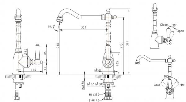 Смеситель для кухни BRAVAT Art F775109G-1