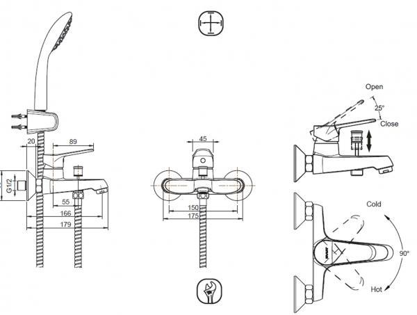 Смеситель для ванны короткий излив BRAVAT Eco F6111147C-B