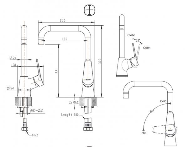 Смеситель для кухни BRAVAT Eco F7111147C-1