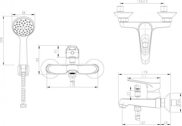 Смеситель для ванны короткий излив BRAVAT Drop F64898C-B