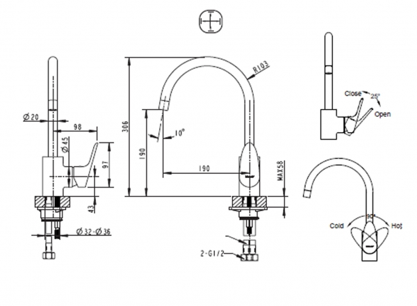 Смеситель для кухни BRAVAT Drop F74898C-1A