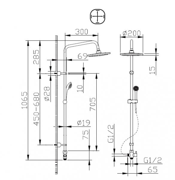 Душевая колонна BRAVAT Fit R D283CP-2-RUS