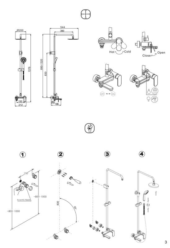 Душевая колонна с изливом BRAVAT Opal С F6125183CP-A1-RUS