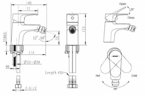 Смеситель для биде BRAVAT Alfa F3120178CP