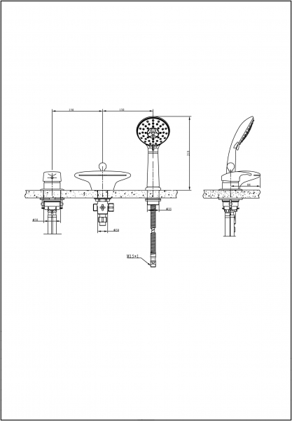 Смеситель на борт ванны BRAVAT Niagara F5140197CP-RUS