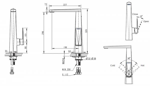 Смеситель для кухни BRAVAT Iceberg F776110G-2
