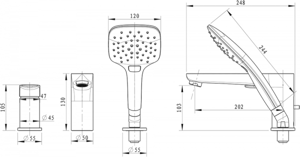 Смеситель на борт ванны BRAVAT Iguassu F5173218CP-1-RUS