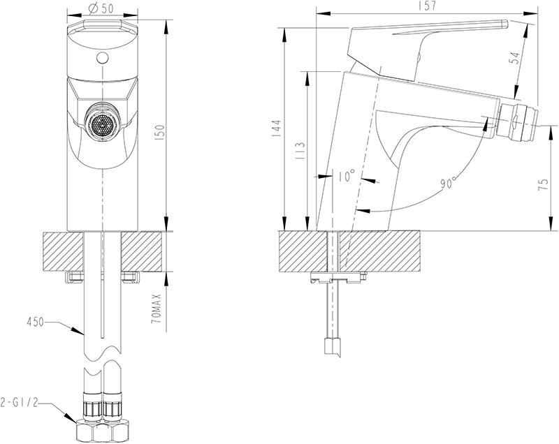 Смеситель для биде BRAVAT Line F35299C-1